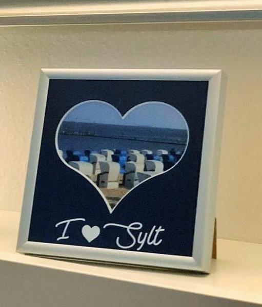 I love SYLT - Herzausschnitt Passepartout mit Rahmen 15x15cm