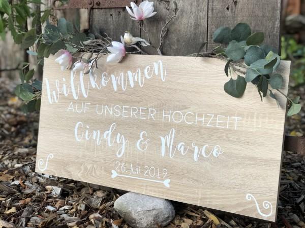 WILLKOMMENSCHILD HOCHZEIT mit Namen & Datum