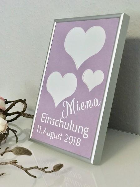 """Einschulungsbild """"Herzen"""" mit Namen & Datum, Grösse 15x22cm"""