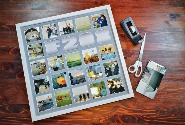 Collage mit einarbeitetem Wort, 50x50cm inkl. Bilderrahmen, personalisiert