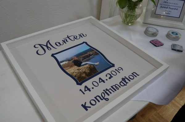 Gästebuch-Passepartout zur KONFIRMATION, JUGENDWEIHE, KOMMUNION etc - 50x50cm, doppellagig ohne Rahm