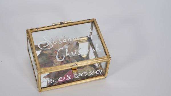 Ringbox , Ringkästchen gold, mit Glas - personalisiert
