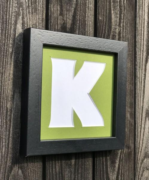 LETTERS, einzelne Buchstaben ohne Rahmen, 23x23cm , Passepartout